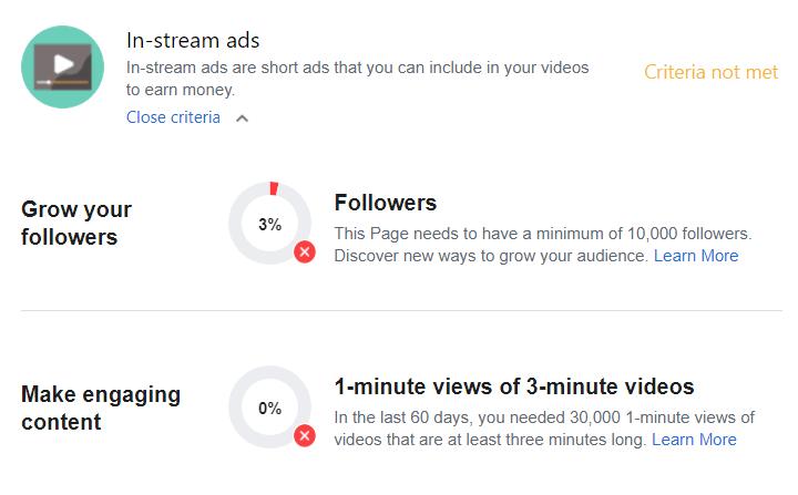 In stream ads Facebook monetization